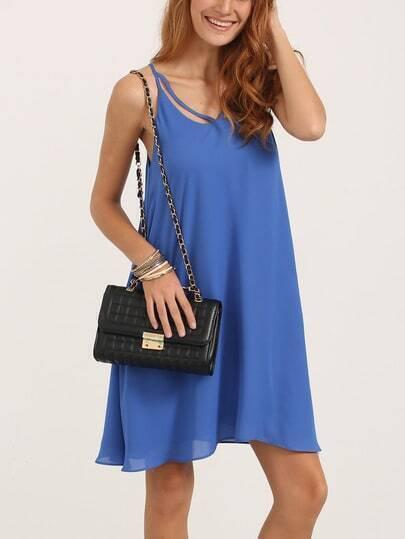 Blue Spaghetti Strap Asymmetrical Shift Dress