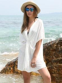 Beige Plunge V-neck Twist Front Casual Dress