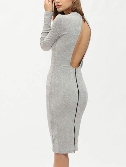 Grey Mock Neck Open Back Knit Sheath Dress