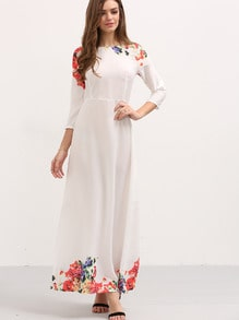 3/4 Sleeve Flower Print Long Dress - White