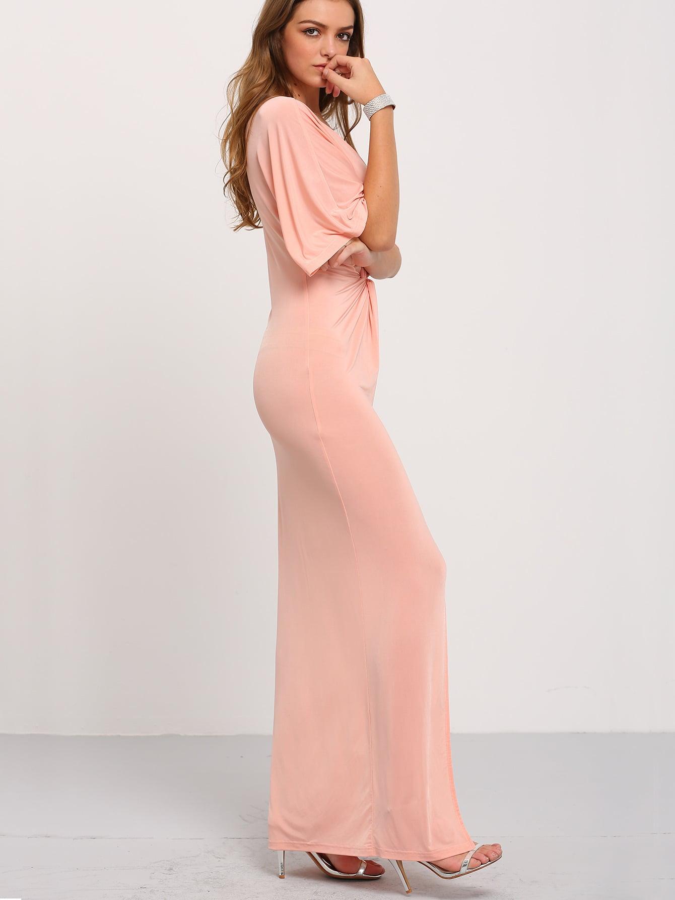 Light pink half sleeve knot split maxi dress shein sheinside for The knot lookbook wedding dresses