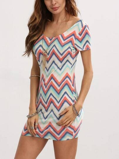 Multicolor Zigzag Print Bodycon Dress