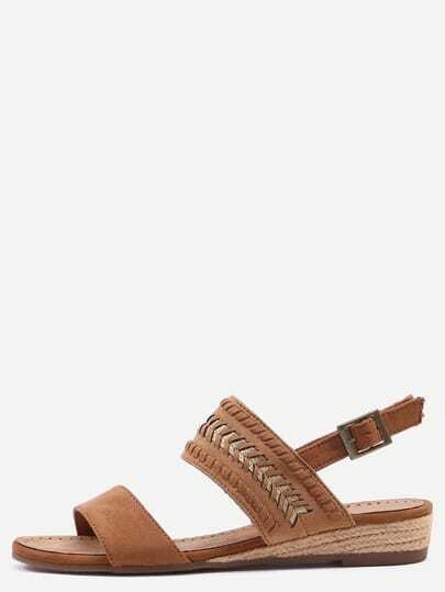 Camel Buckle Strap Suede Wedges