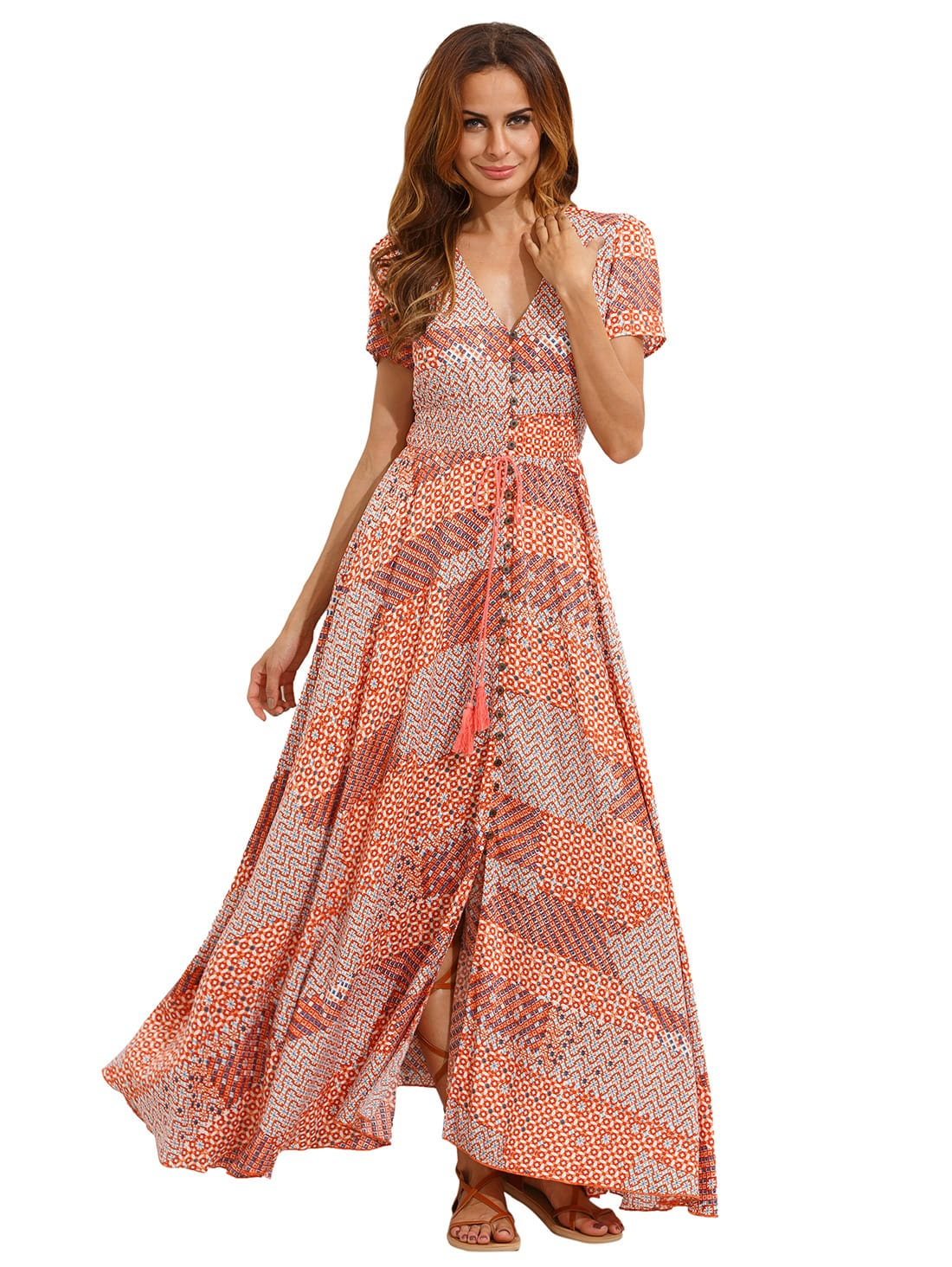 Multicolor V Neck Split Side Maxi Dress dress160630751