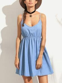 Blue Spaghetti Strap A-Line Denim Dress