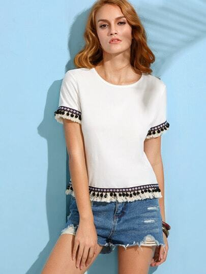 White Embroidered Tape Detail Fringe Pom Pom T-shirt