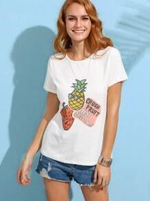 Fruit Print White T-shirt