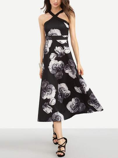 Black Flower Print Fit and Flare Dress