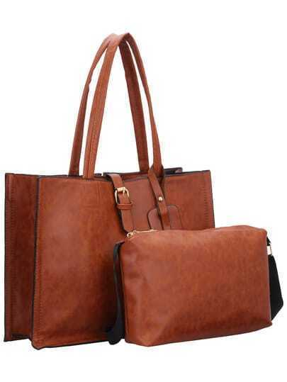 Brown Magnetic Buckle Shoulder Bag Two Pieces