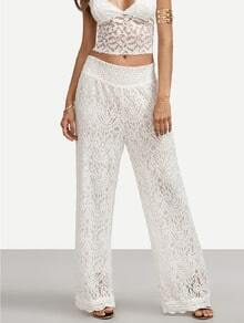 White Tie Back Lace Wide-leg Pants