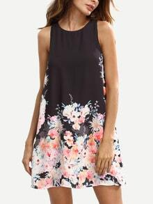 Floral Print Keyhole Back Swing Tank Dress