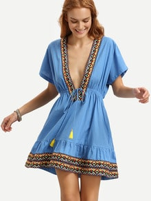 Blue V Neck Short Sleeve Tie Waist Dress