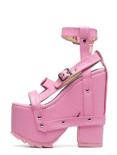 Pink Peep Toe Buckle Strappy Platform Chunky Wedges