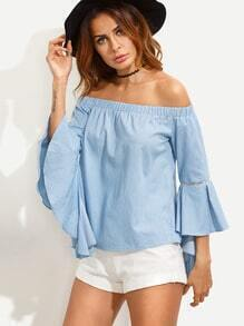 Blue Off The Shoulder Bell Sleeve Blouse