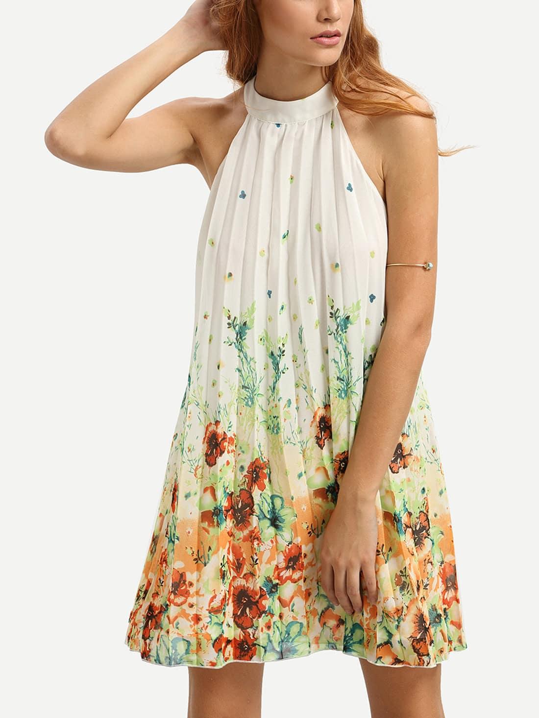 Multicolor Floral Mock Neck Sleeveless Shift DressMulticolor Floral Mock Neck Sleeveless Shift Dress<br><br>color: Multicolor<br>size: L,XS