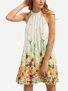 Multicolor Floral Mock Neck Sleeveless Shift Dress