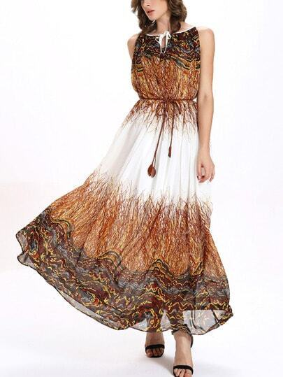 Multicolor Printed Belted Keyhole Tie Neck Chiffon Dress