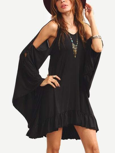 Flute Split Sleeve Open Tie Back Dress