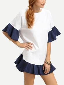 Ruffled Contrast Trim White Dress
