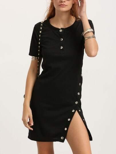 Black Side Buttoned Sheath Dress