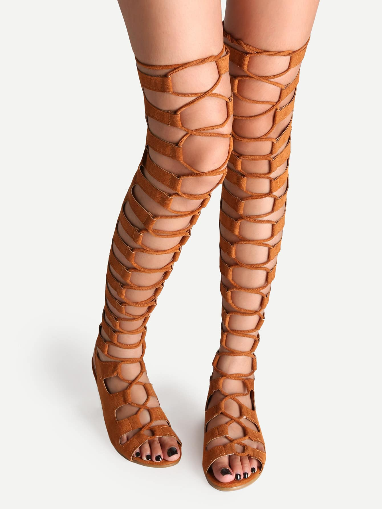 Tan Lace Up Thigh High Gladiator Sandals