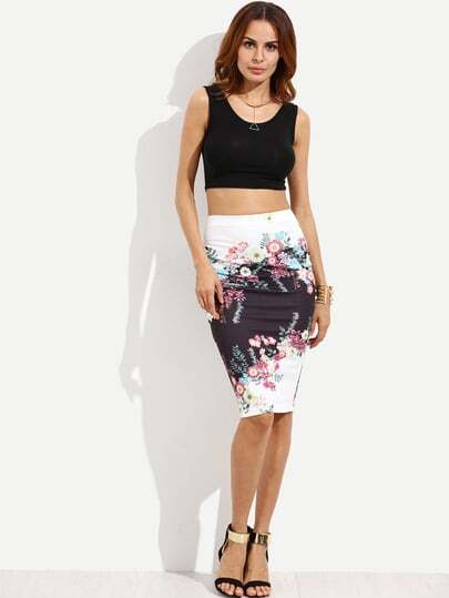 Multicolor Print Knee Length Skirt