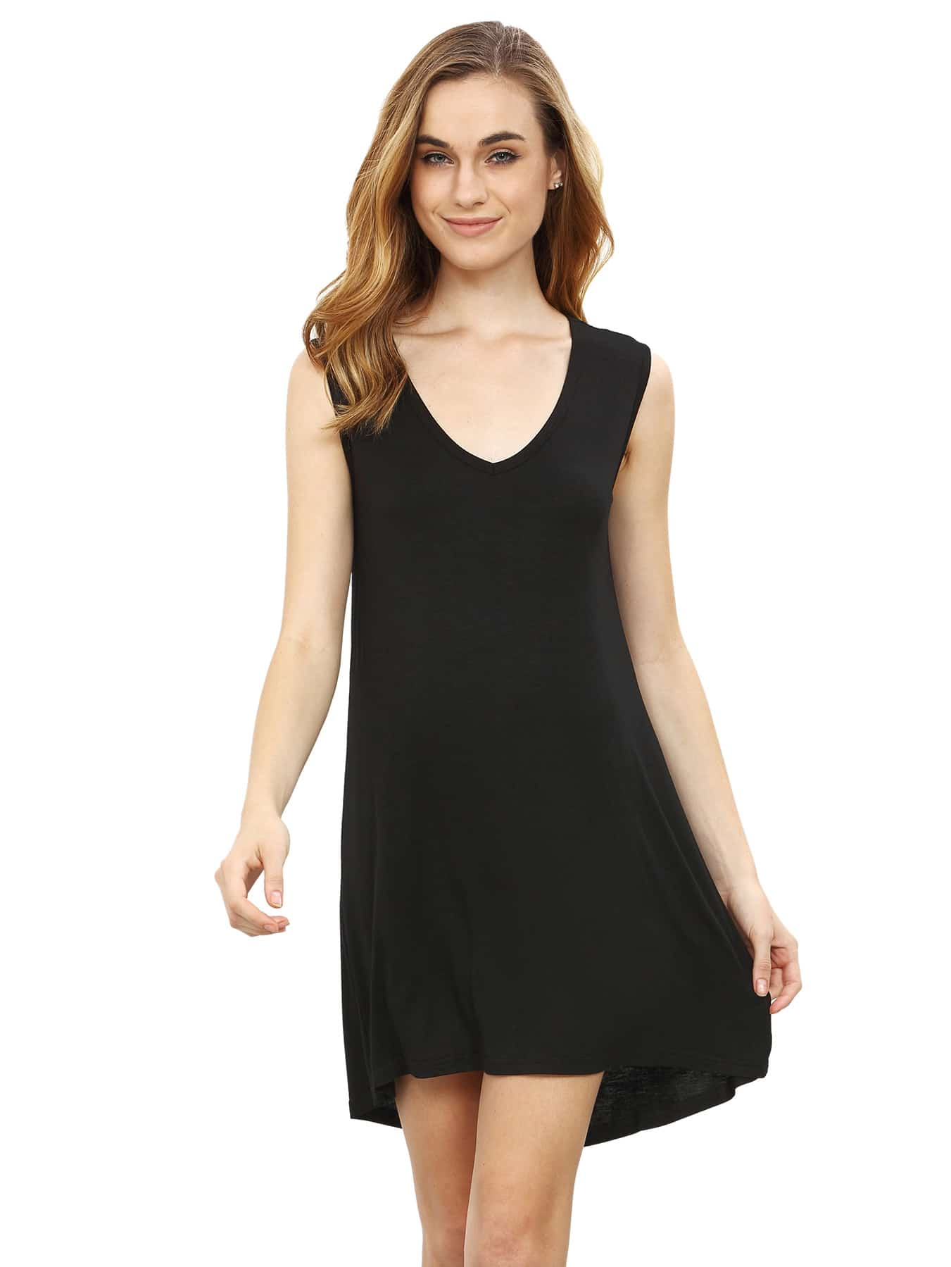 Black Minis Sleeveless Vest Casual Dress dress160513780