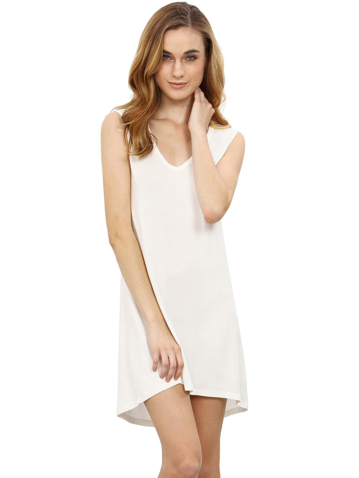 V-Neckline Dip Hem Tank Dress dress160513781