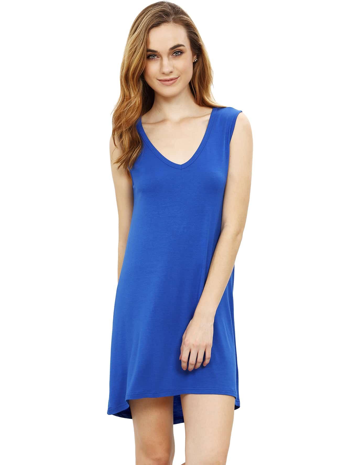 Фото Plunging V-neckline Dip Hem Dress. Купить с доставкой