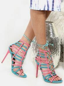 Duo Tone Caged Heels AQUA MULTI
