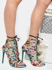 Floral Caged Lace Up Heels GREEN MULTI