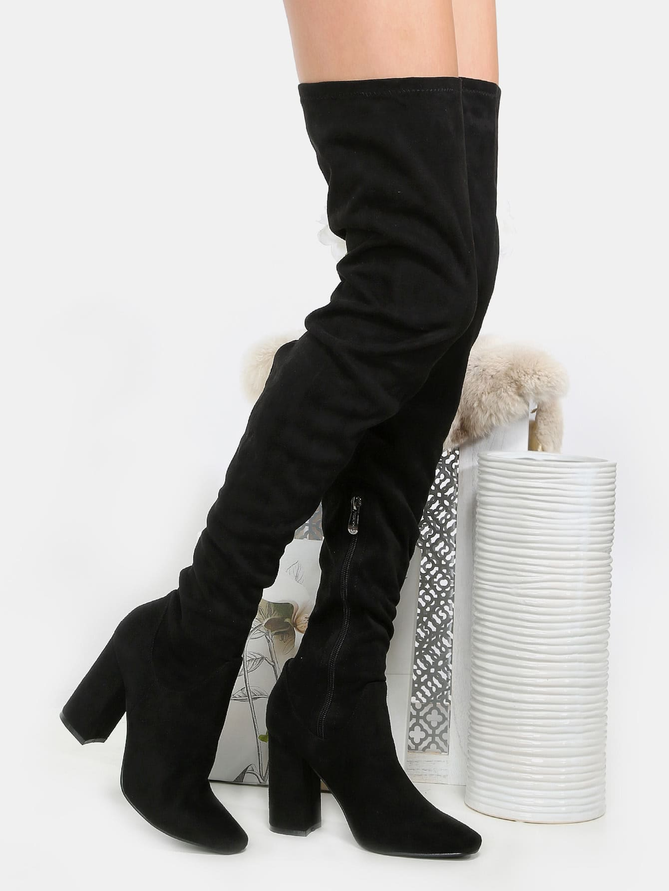 faux suede chunky heel thigh high boots black shein