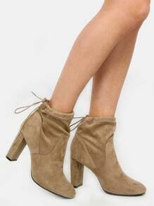 Faux Suede Chunky Heel Ankle Boots TAUPE