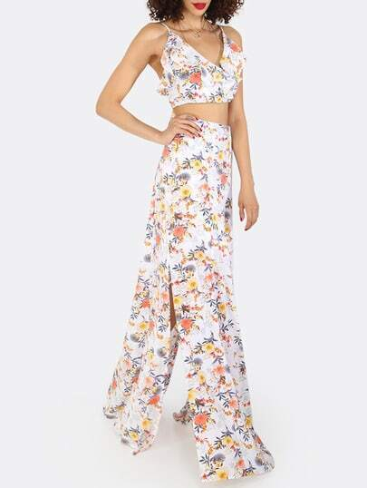 Multicolor Floral Spaghetti Strap Crop Top With Skirt