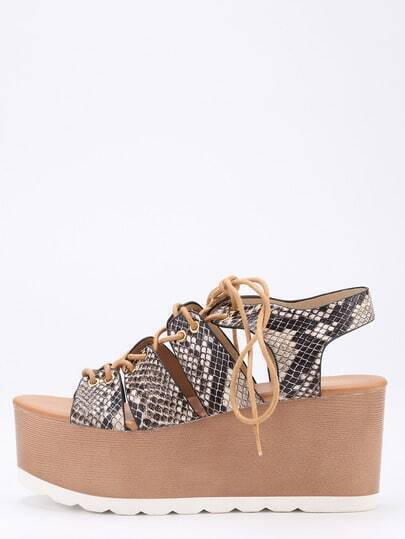 Snake Embossed Lace-Up Platform Wedges