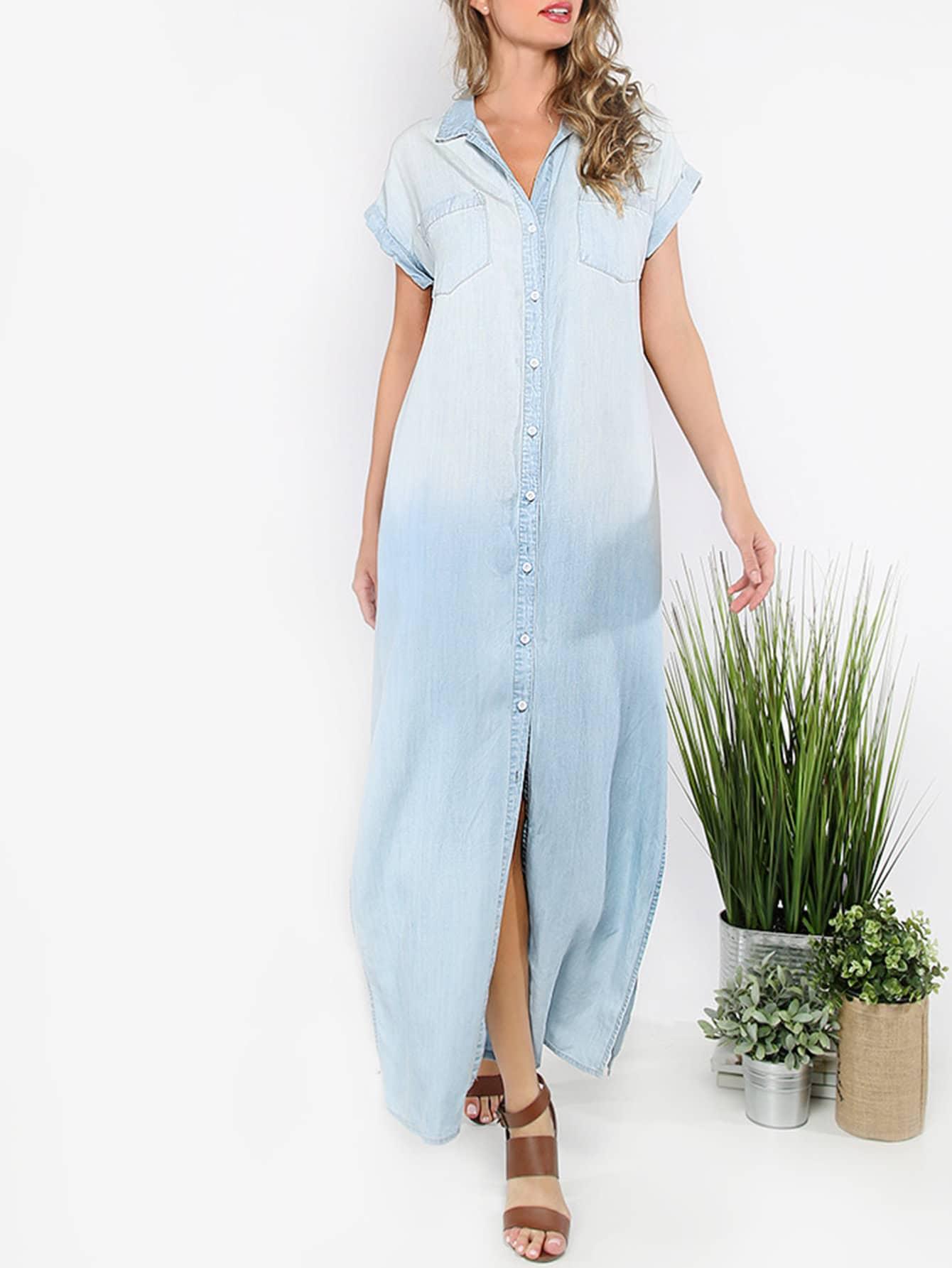 Купить со скидкой Button Front Denim Slit Dress