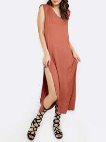 Red Sleeveless V Neck Split Side Dress