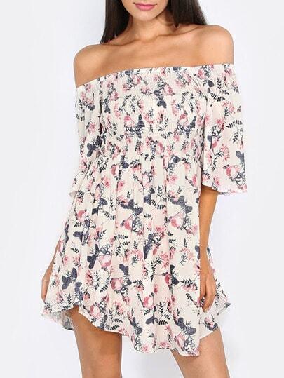 Multicolor Off The Shoulder Flower Print Shift Dress