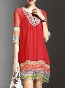 Red Round Neck Tribal Print Shift Dress