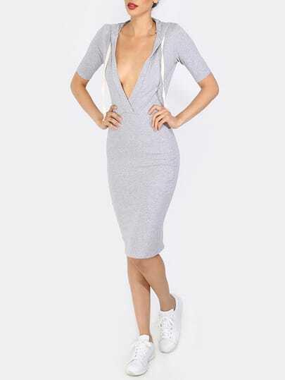 Grey Half Sleeve V Neck Sheath Dress