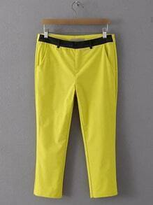 Yellow Zipper Fly Pocket Pants