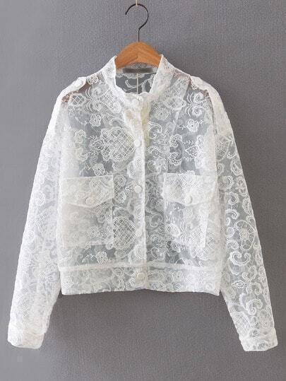 White Embroidery Button Front Sheer Jacket