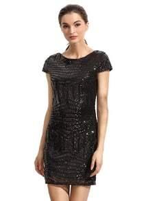 Black Cap Sleeve Backless Sequined Dress