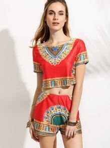 Red Tribal Print Crop Top With Shorts