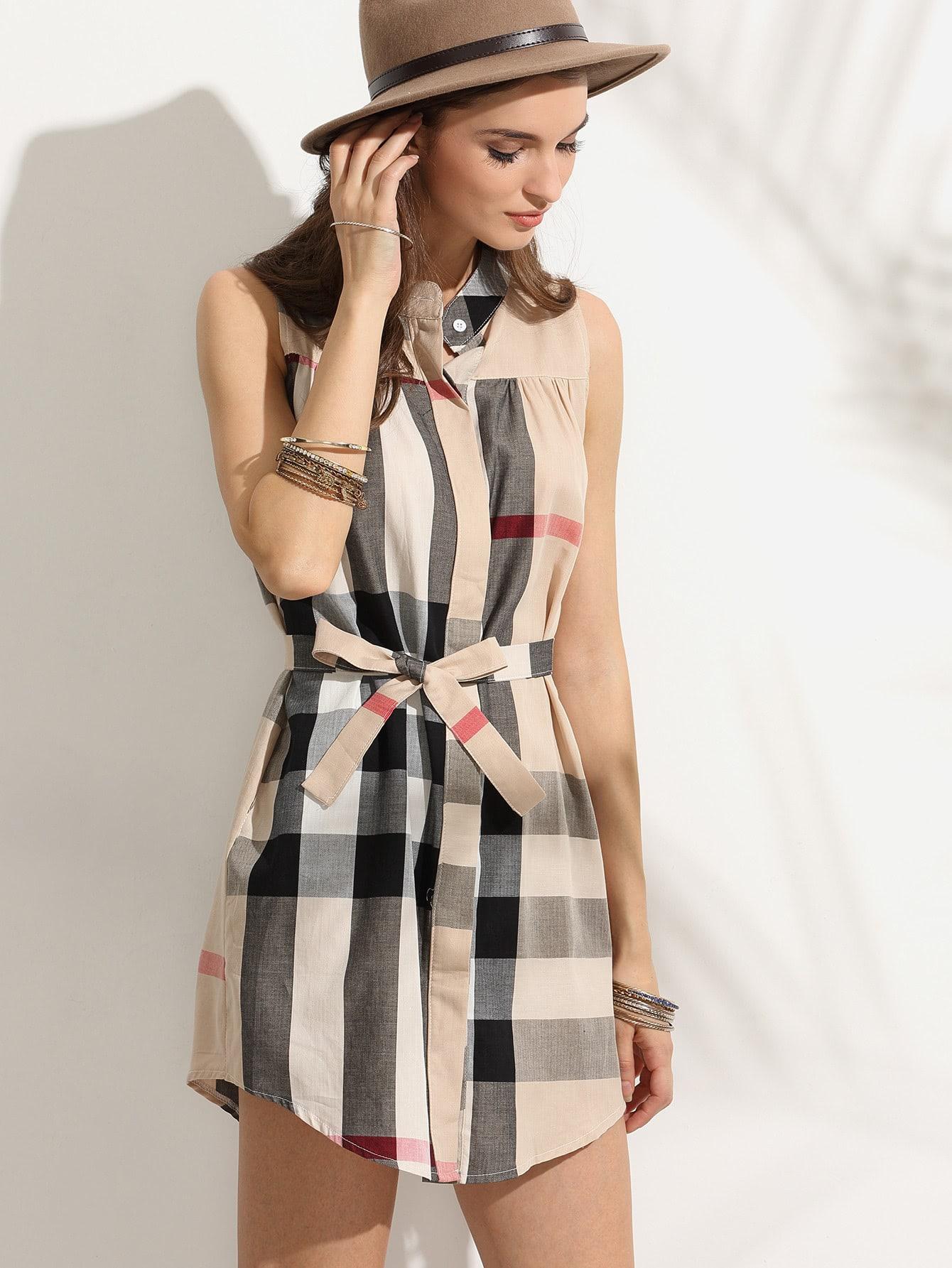 все цены на Checkered Self Tie Shirt Dress