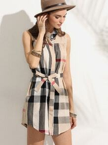 Checkered Self Tie Shirt Dress