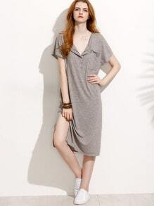 Grey Button Front Side Slit T-shirt Dress