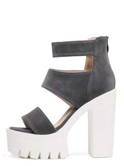 Grey Peep Toe Cutout Buckle Chunky Sandals