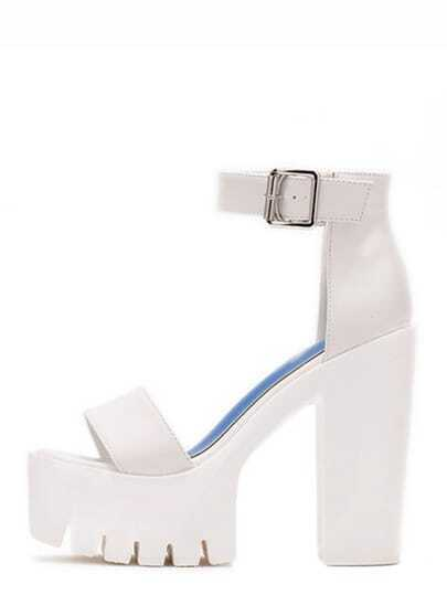 White Lug Sole Open Toe Platform Chunky Sandals