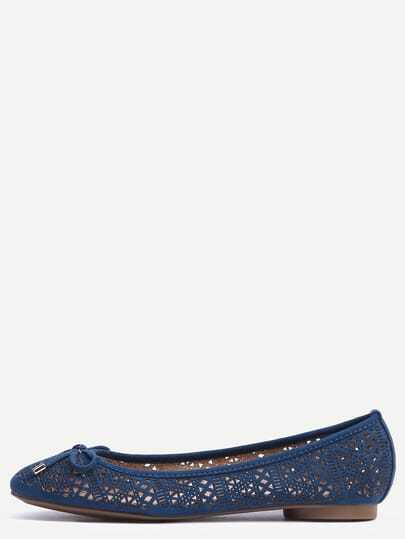 Faux Leather Bow Tie Ballet Flats - Navy